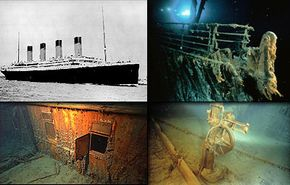 Clockwise from top left: The Titanic; bow and railing of the Titanic shipwreck; steering motor on the bridge; port side forward expansion joint on the boat deck of the bow section
