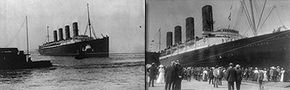 Lusitania at sea (left) and arriving in New York for the first time, Sept. 13, 1907