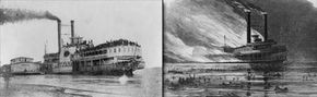 Sultana passing Helena, Arkansas, on April 27, 1865 (left) and artist's rendition of the explosion of the Sultana on April 28, 1865