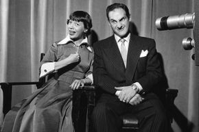 """Imogene Coca and Sid Caesar perform a skit on the live-broadcast """"Your Show of Shows"""" in 1953."""