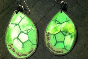 Another example of science and Shrinky Dinks coming together: These earrings represent the chemical compound thujone.