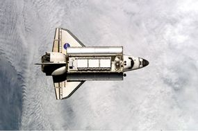 Space shuttle Endeavour (STS113) in orbit as seen from the International Space Station.