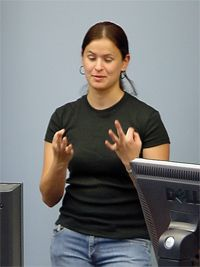 Learning to sign in the Sign Language Interpretation Lab at Georgia Perimeter College