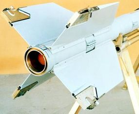 The rollerons on the rear wings help stabilize the missile in flight.