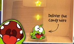 Om Nom's in-game instructions are very clear about how he wants you to feed him his candy.