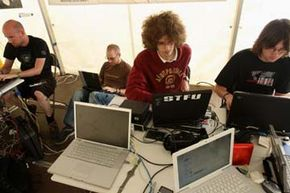 Hackers congregate at the 2007 Chaos Communication Camp. See more computer pictures.