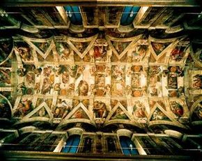 The Sistine Chapel is located in the Vatican. ceiling's painted scenes are of gigantic proportions (ceiling 130 feet 6 inches x 43 feet 5 inches).
