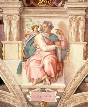 Prophet Isaiah by Michelangelo can be seen on the Sistine Chapel ceiling 43 feet 5 inches)
