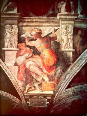 Libyan Sibyl from Michelangelo's Sistine Chapel ceiling paintings (ceiling 130 feet 6 inches x 43 feet 5 inches) in the Vatican.