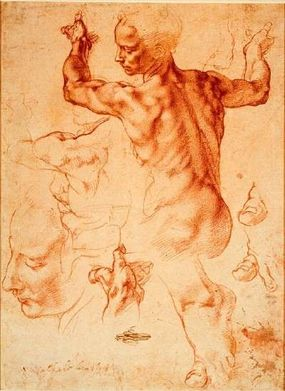 Study for the Libyan Sibyl, red chalk drawing (11-3/8 x 8-1/2 inches), can be seen at the Metropolitan Museum, New York.