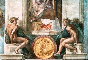 Ignudi detail from the Sistine Chapel ceiling (ceiling 130 feet 6 inches x 43 feet 5 inches) by Michelangelo. The painting can be seen at the Vatican.