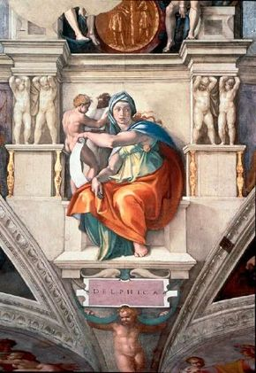 This detail, Delphic Sibyl, is one of the Sistine Chapel ceiling paintings (ceiling 130 feet 6 inches x 43 feet 5 inches) by Michelangelo.