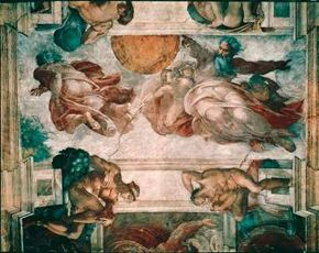 In Creation of Sun, Moon, and Planets from the Sistine Ceiling 43 feet 5 inches) almost furiously energetic creator.