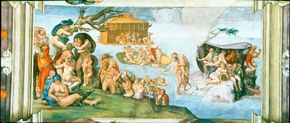 Deluge by Michelangelo is a painting (ceiling 130 feet 6 inches x 43 feet 5 inches) within the Sistine Chapel ceiling.