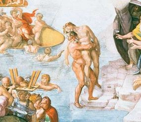 Detail from Deluge within the Sistine Chapel ceiling.