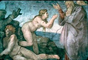This detail shows Michelangelo's Creation of Eve (ceiling 130 feet 6 inches x 43 feet 5 inches) within the ceiling of the Sistine Chapel at the Vatican.