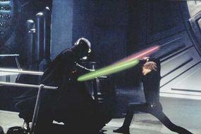 Sith Lord Darth Vader battles his Jedi son Luke Skywalker.