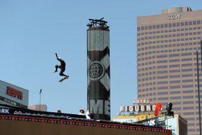 Daredevil Bob Burnquist of Brazil skates in the Skateboard Big Air Practice during the X Games 17 in Los Angeles.