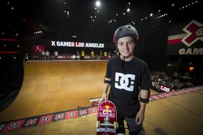 Tom Schaar poses for a pic during Skateboard Vert Finals at the X Games in Los Angeles, 2012. At just 12 years old, he pulled off the seemingly impossible 1080 spin.