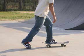 """Most people ride skateboards """"regular foot,"""" with their left foot forward."""