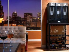 The skybar Wine System chills, pours and preserves wine.