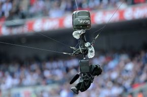 The Skycam rig is suspended over the action with reels of Kevlar-reinforced rope.