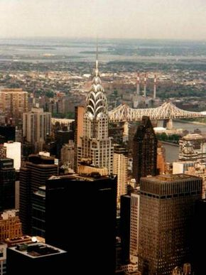 The distinctive chrome-nickel-steel crown of the 1,046-foot (319-meter) Chrysler Building is a classic example of art deco architecture.
