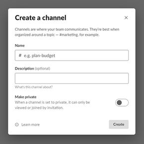 Creating a channel in Slack app