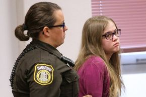Morgan Geyser was brought into court by a sheriff's deputy during the August 2015 arraignment of the Slender Man stabbing trial in Waukesha, Wisconsin.