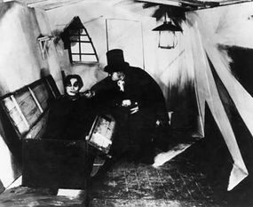 """A scene from the German silent film """"The Cabinet of Dr. Caligari,"""" directed by Robert Wiene"""