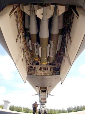 A B-1B Lancer bomb bay loaded with JDAM-equipped BLU-109 2,000-pound bombs, prior to a mission in Operation Enduring Freedom.