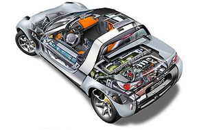 Cutaway view of the Smart Roadster