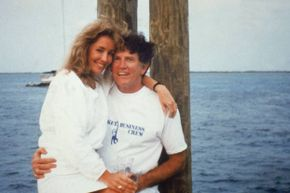 """The famous photo of Gary Hart wearing an unfortunately named """"Monkey Business"""" T-shirt (the name of his boat) with mistress Donna Rice on his lap."""