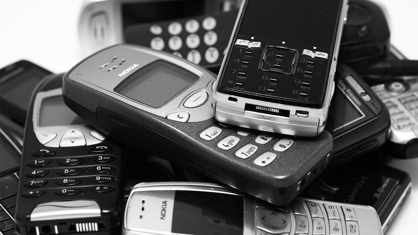 group of old cell phone and smartphones