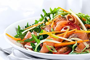 You can dress up your salad with chicken or smoked salmon, too.