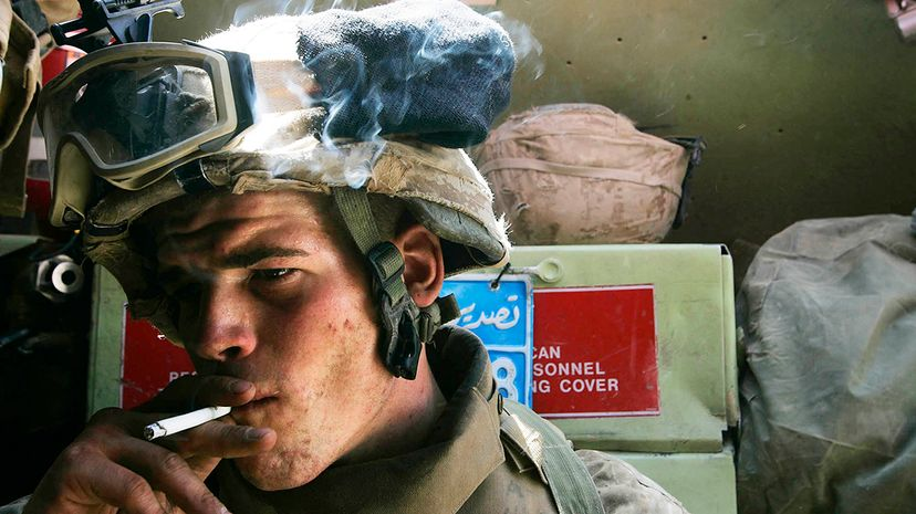 Almost a third of U.S. Marines smoke. Chris Hondros/Getty Images