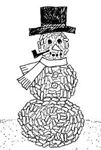 Make a Packing Peanuts Snow Person