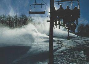 Air snow guns coat a slope at Wintergreen Resort in Virginia.