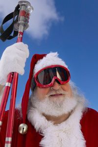 Even Santa knows he needs poles and goggles.