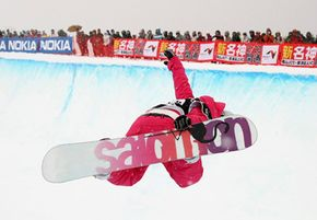 Anne-Sophie Barthet of France competes during the women's Halfpipe portion of the 2008 FIS World Cup.