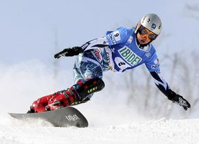 Ekaterina Tudigescheva of Russia competes in the women's Parallel Giant Slalom portion of the FIS World Cup.