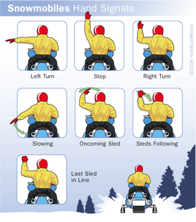 Using established hand signals when snowmobiling is another way to stay safe.