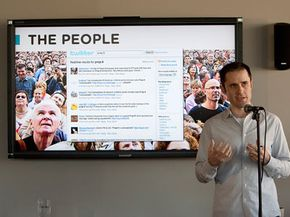 """Twitter co-founder and CEO Evan Williams -- joining """"the people""""via online tweets."""