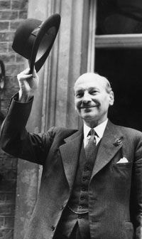 Clement Atlee on his way to the House of Commons, where he delivered his crisis speech on the situation in Abyssinia.
