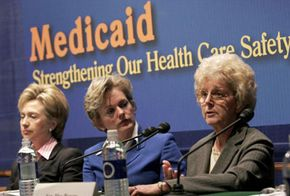 Sen. Hillary Clinton, Gov. Jennifer Granholm and Phyllis Craig participate in a forum about proposed cuts to Medicaid. Craig delivered a personal testimony about her experience with Medicaid.