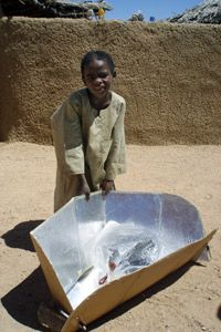 Solar cookers like this one in the Iridimi camp are simple yet effective.