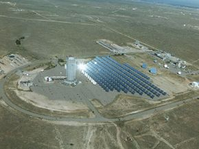 An array of collectors is able to collect energy from the sun that is stored for later use.