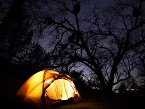 Nighttime tent illumination can be generated by the sun during the day.