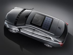 GM's Cadillac Provoq concept features a rooftop solar panel that provides power for the vehicle's accessories.