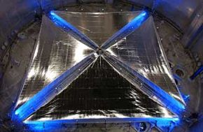 A four quadrant, 20-meter solar sail system is fully deployed during testing at NASA Glenn Research Center's Plum Brook facility in Sandusky, Ohio.